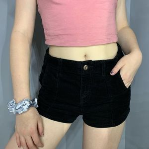 Black corduroy shorts. Has some stretch.